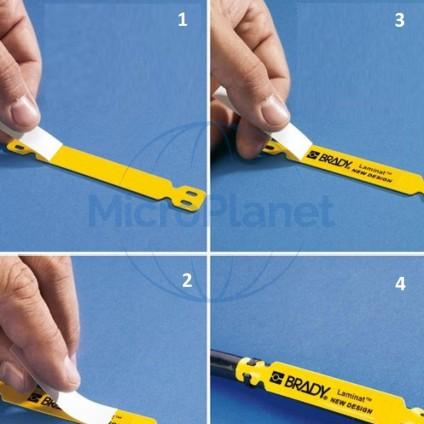 LAMINAT® Modelo LC-65X13-B7644, soporte autolaminadas color AMARILLO para dentificacion de cables. c/100 uds.