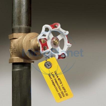 LAMINAT™  TAG Mod. LT-59x25-B7645-WR tarjeta de soporte con autolaminado y anilla metálica, c/50 unid.
